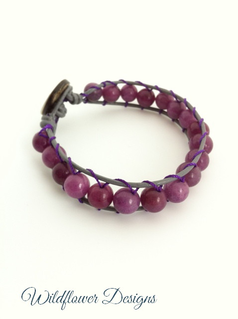 leather wrap bracelet purple agate
