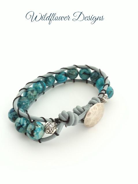 blue feldspar leather wrap bracelet