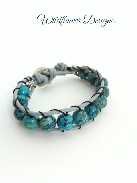 blue feldspar leather wrap bracelet