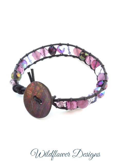 leather wrap bracelet purples