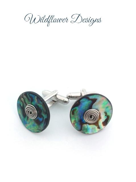 paua cufflinks with silver wire swirls