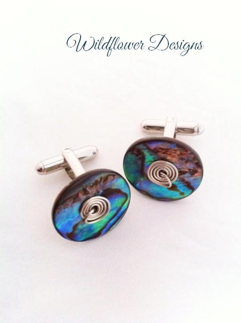 paua and wire cufflinks