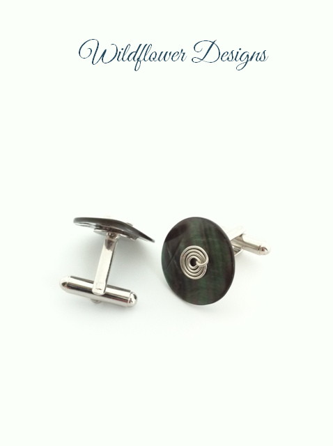 black mop cufflinks with wire swirl