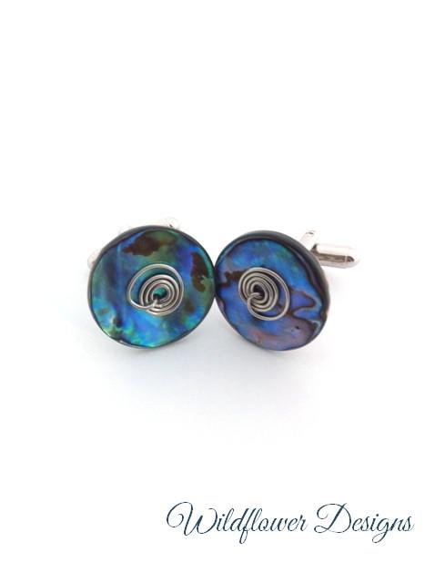 paua cufflinks with wire swirls