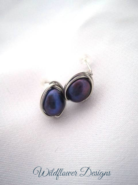 Freshwater Pearl Purple Wrap Post Earrings