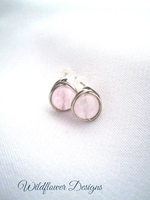 Rose Quartz Wrap Post Earrings