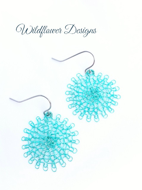 earrings green wire flower wire