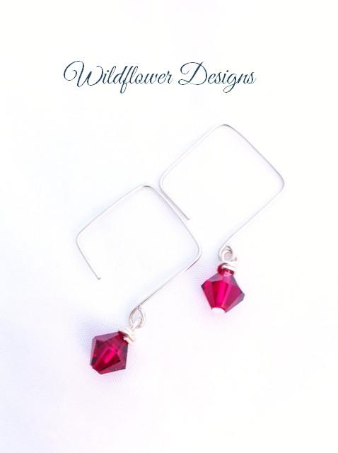 earrings dark pink swarovski