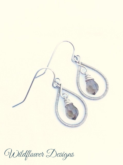 earrings grey crystal wire