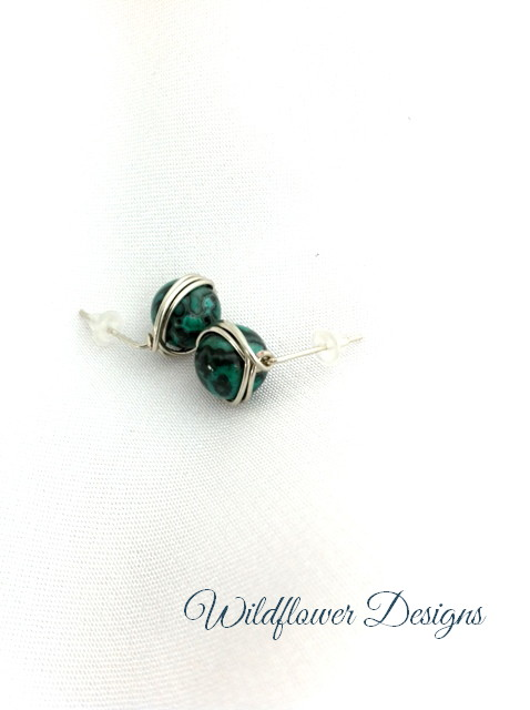 Green Laguna Lace Agate Wrap Posts