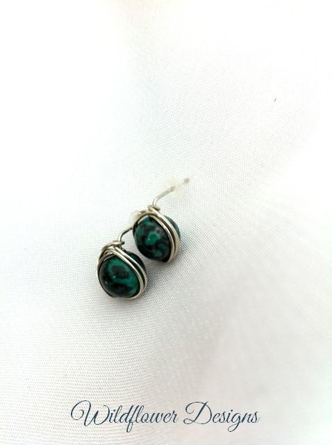 earrings post green laguna lace