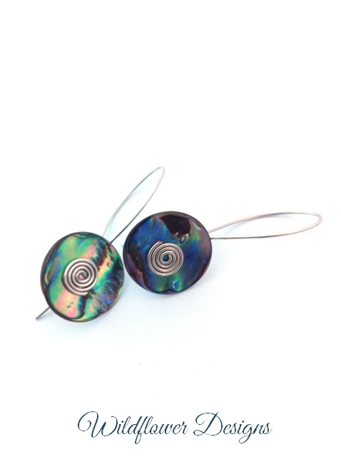 paua rounds silver wire
