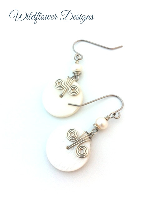 mother of pearl shell freshwater pearl earrings