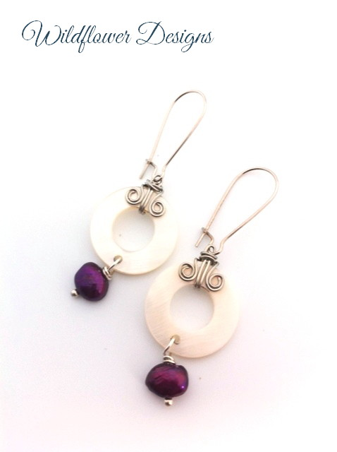 Mother of pearl earrings with wire swirls and magenta pearls