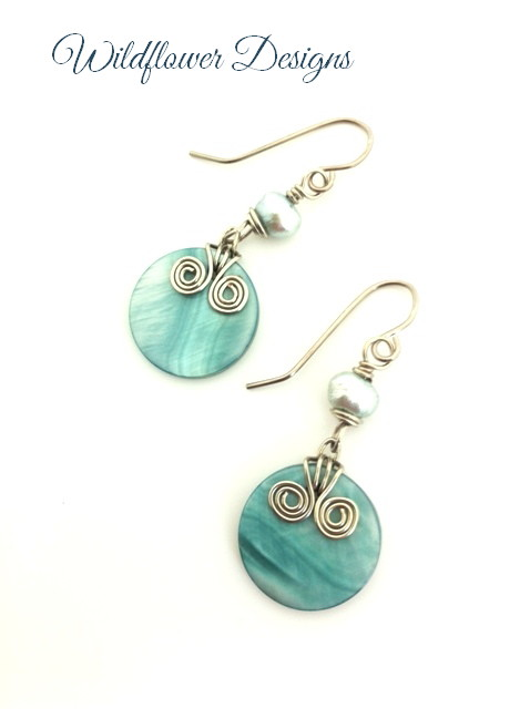 aqua shell round earrings with silver swirls and freshwater pearls