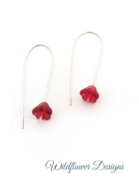 silver wire drops with cranberry flowers