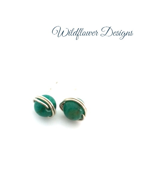 russian amazonite silver wrap post earrings