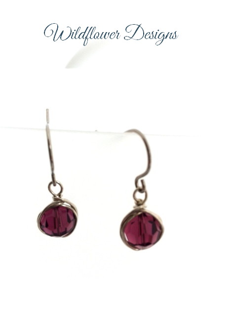 amethyst swarvoski crystals wire wrapped on hypoallergenic hooks