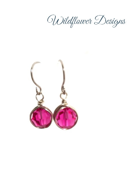 Fuschia swarovski crystal wire wrapped earrings on hypoallergenic hooks