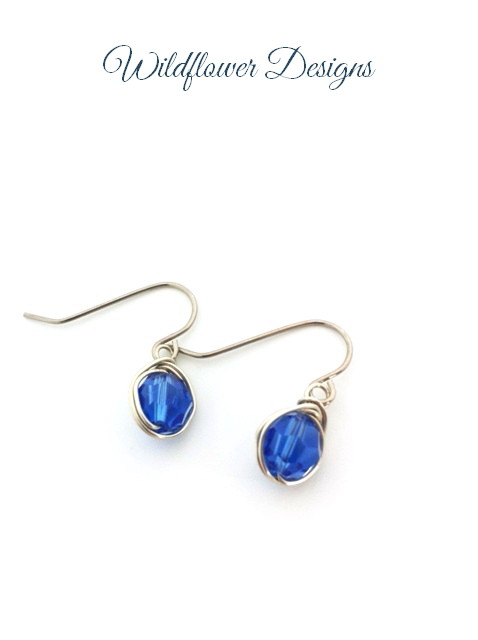 swarovski crystal sapphire wire wrapped earrings with hypoallergenic hooks