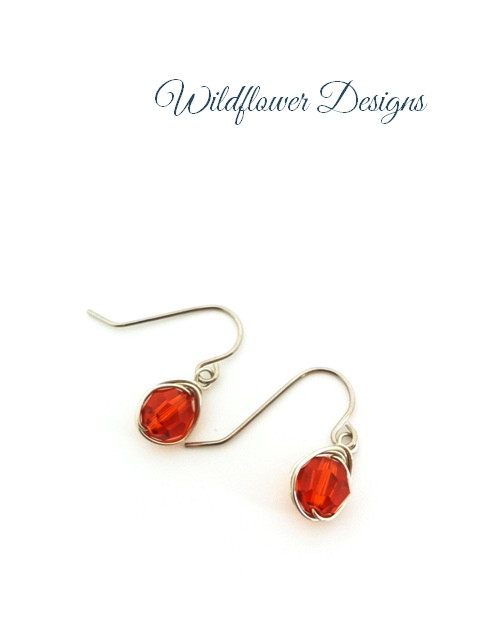 swarovski crystal indian red wire wrapped earrings with hypoallergenic hooks