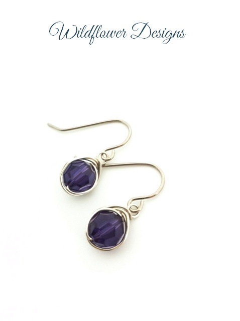 swarovski crystal purple velvet wire wrapped earrings with hypoallergenic hooks