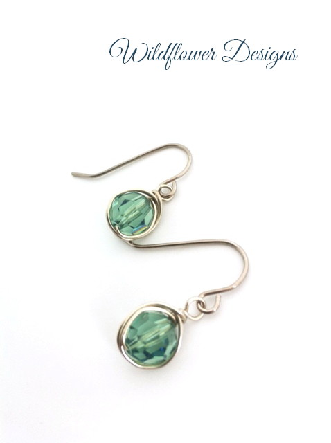 swarovski crystal erinite silver wire wrap hypoallergenic earrings