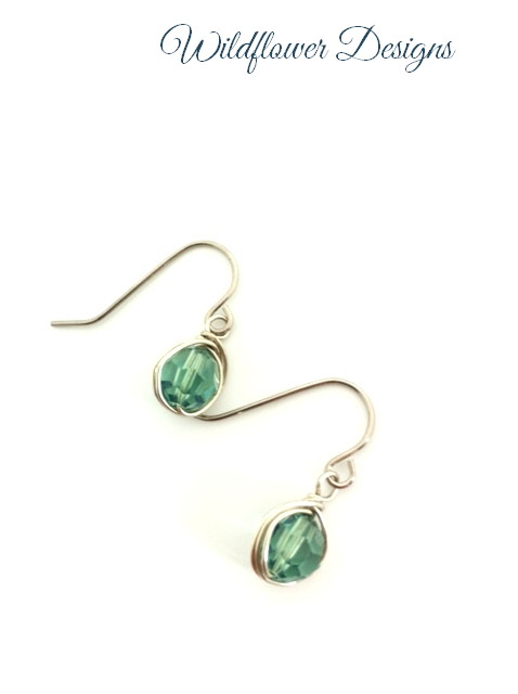 swarovski crystal erinite wire wrapped hypoallergenic earrings