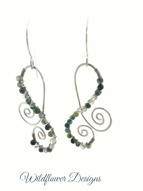 moss agate rounds wire wrapped on silver swirl earring frames