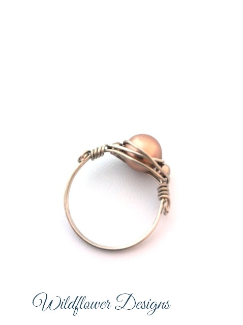 swarovski bronze pearl wire wrapped ring