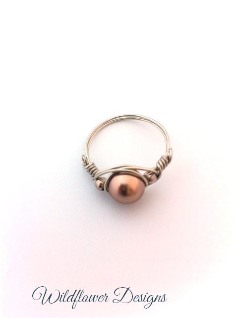 swarovski bronze pearl silver wire ring
