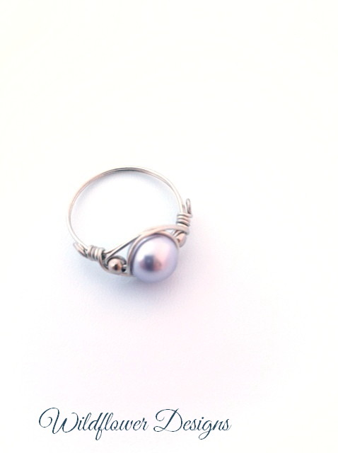 swarovski blue pearl silver wire wrap ring