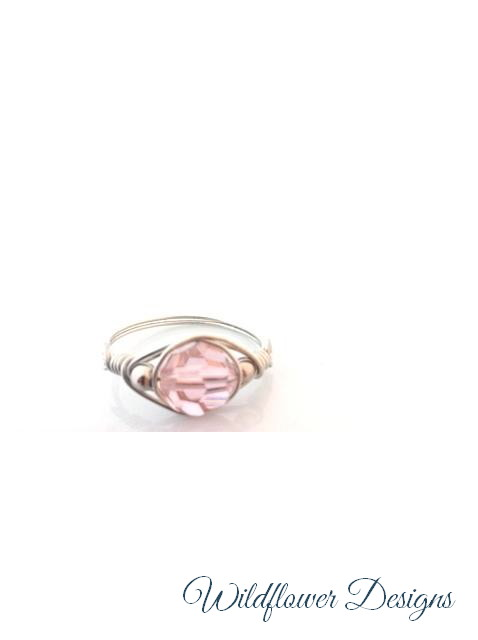 Pink Peach Crystal Wrap Ring