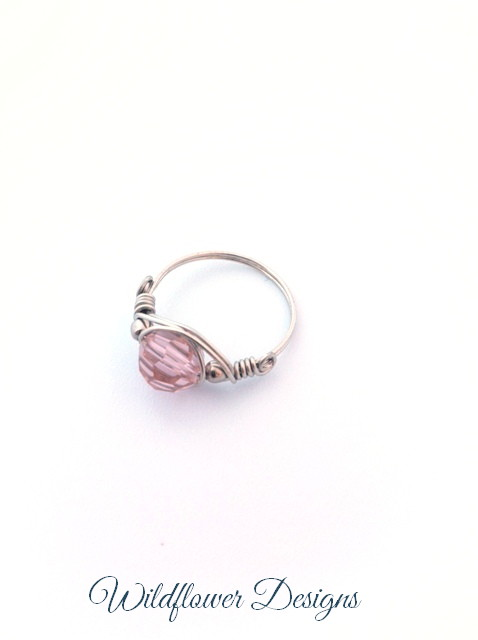 swarovski pink crystal silver wire wrap ring