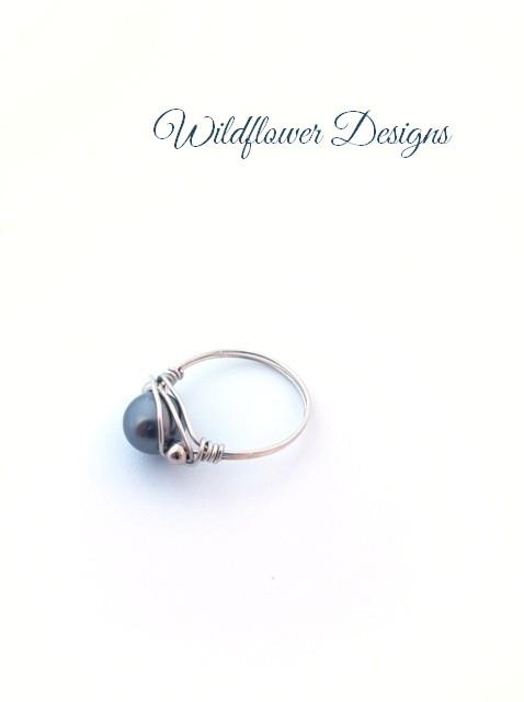 swarovski dark grey pear wire wrap ring