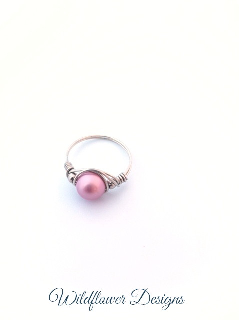 swarovski pink pearl wire wrap ring