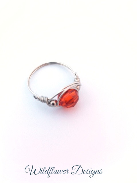 swarovski crystal indian orange wire wrap ring