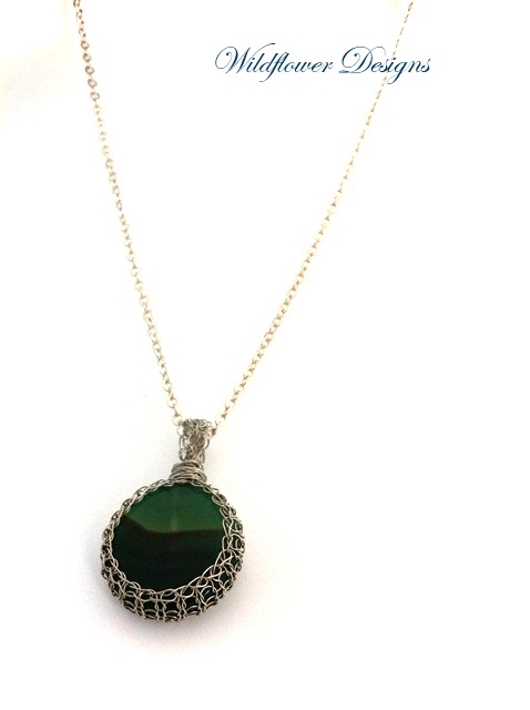 green agate in knitted wire bezel on silver chain