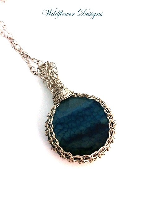 blue agate in knitted wire bezel on silver chain