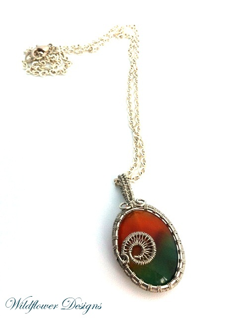 rainbow agate wire wrapped bezel on silver chain