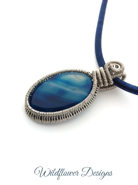 blue agate wire woven bezel on cotton satin cord