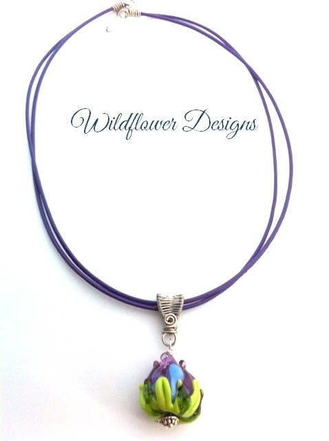 lampwork flower purple/lime on purple leather cord