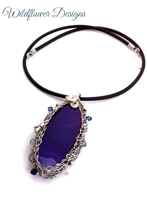 purple agate with silver wire wrap bezel and swarovski crystals