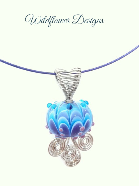 wire wrapped lampwork aqua and violet focal pendant
