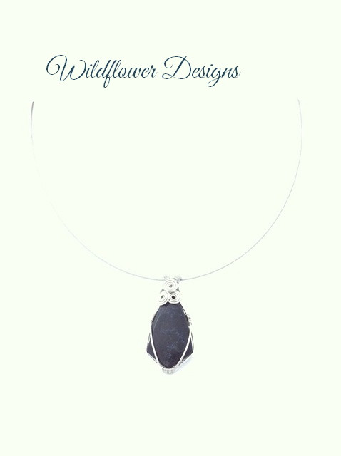silver wire wrapped imperial jasper pendant in black