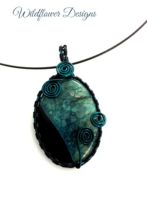 black green druzy agate wire wrapped pendant