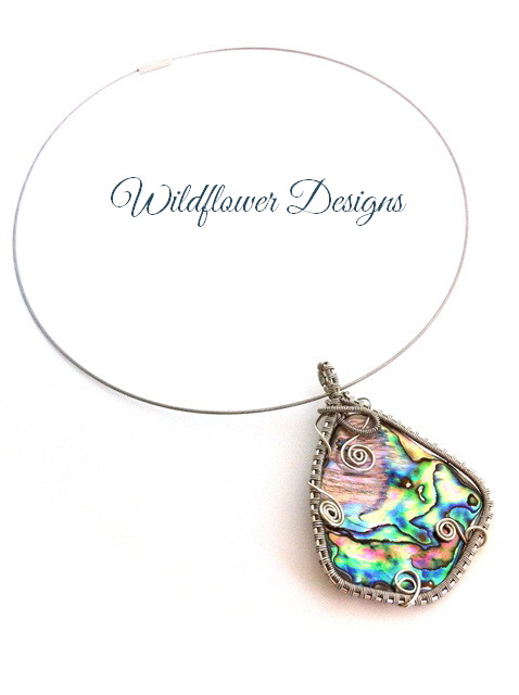 wire-woven framed paua necklace