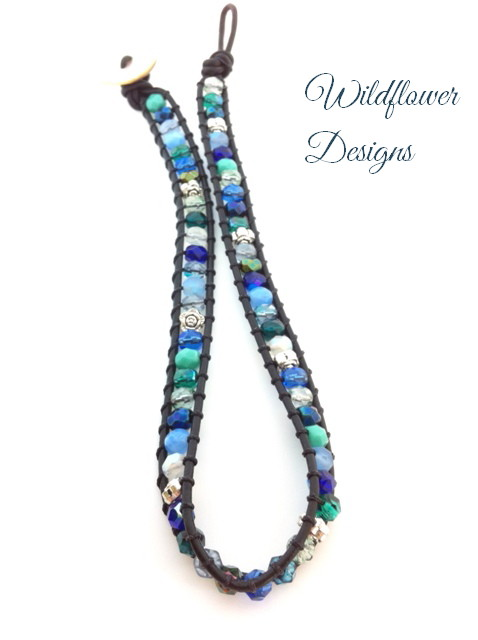 leather double wrap bracelet in blues and teals