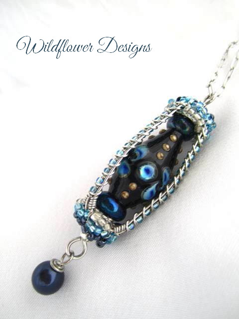 necklace lampwork lantern blue
