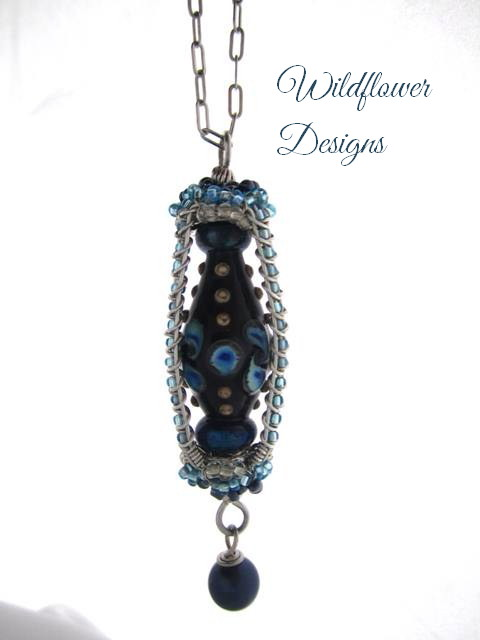necklace lampwork lantern blue 9